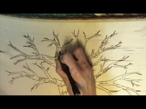 DIY wood burned family tree