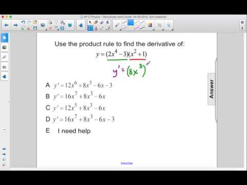 AP Physics C Calculus Derivatives Product and Quotient Rules Q23