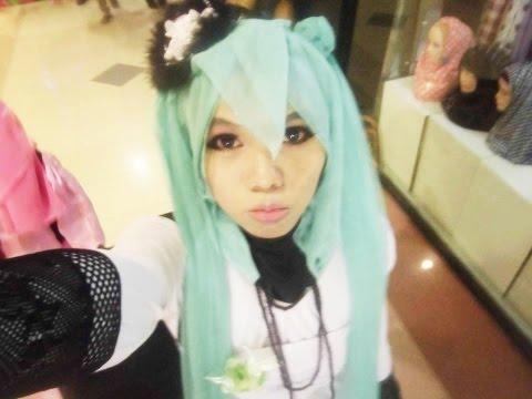 Tutorial cosplay hijab hatsune miku