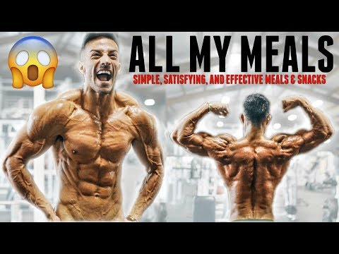 EXACTLY WHAT I'M EATING ONE WEEK AWAY FROM PHYSIQUE SHOW   SHREDDING EASY    *NO FOOD RESTRICTIONS!!