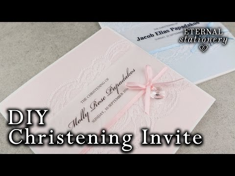 How to make a cute Christening / Baptism Invitation Card | with Swarovski elements | DIY Invitations
