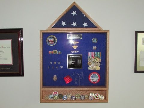 Military Shadow Box With Built in Coin Rack