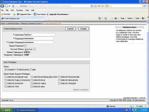 2 SQL with Oracle 10g XE   Creating a New User