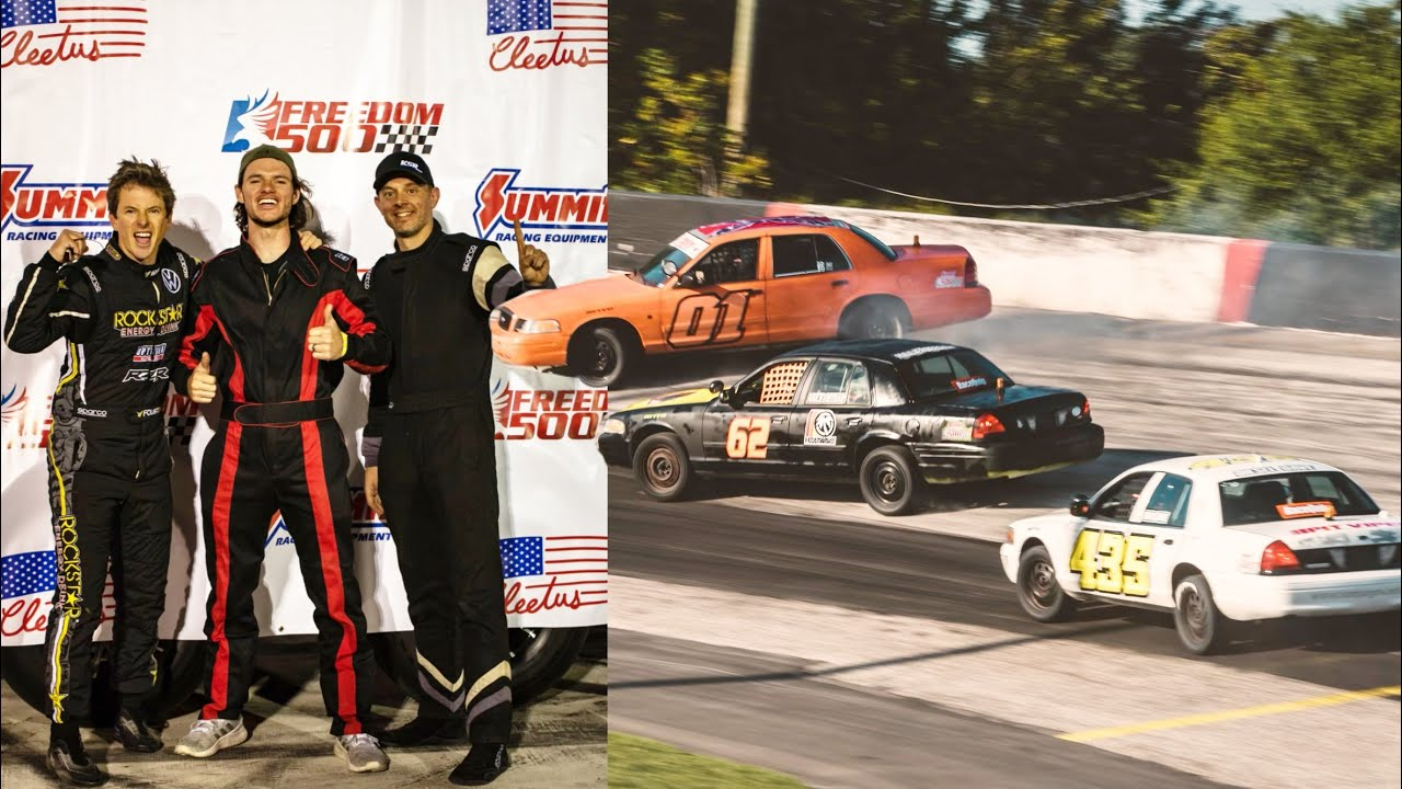 Racing Nascar Drivers, Cleetus McFarland, Travis Pastrana in the Freedom 500