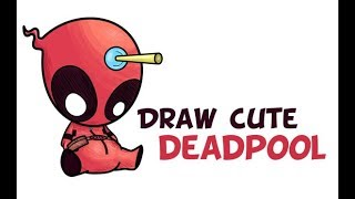 How To Draw Chibi Deadpool With Nerf Dart Easy Step By Drawing For Beginners