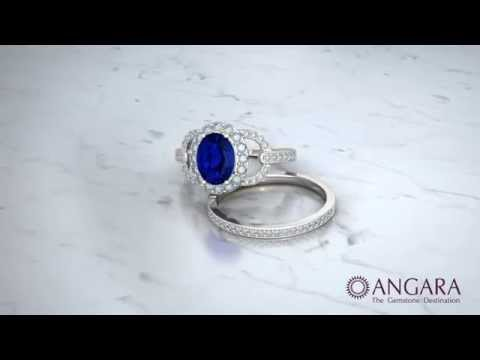 Blue Sapphire Diamond Wedding Ring Sets for Bride