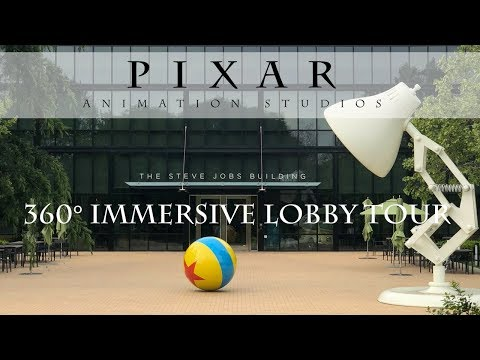 360 degree immersive tour of the Pixar Animation Studios lobby
