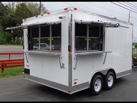 Concession Trailer 8.5 x 14 (White) Event Custom Enclosed Kitchen