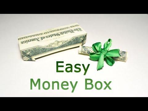 QUICK and EASY Money BOX Origami Dollar Tutorial DIY Folding