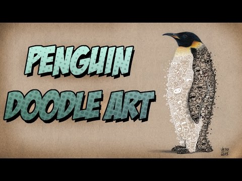 PENGUIN DOODLE | B&W Series Timelapse Drawing