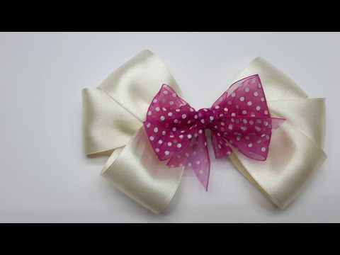 How to make hair bow - how to make a bow out of ribbon - EASY