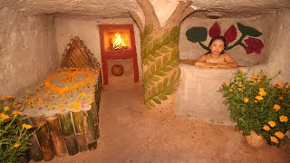 Girl Use Stick Can Building The Most Beautiful Luxury Underground House \u0026 Bathtub