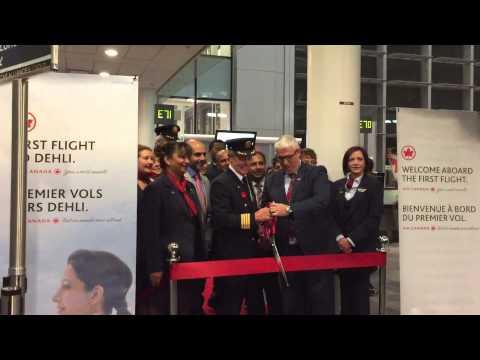 Air Canada AC70 ribbon cutting Toronto to New Delhi - inaugural flight