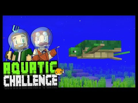 WE FOUND A TURTLE?! - Minecraft Aquatic Challenge - #3