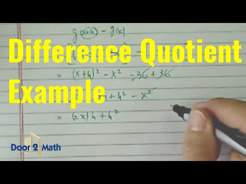*Difference quotient  [ g(x+h)-g(x)/h]: g(x) = x^2-36