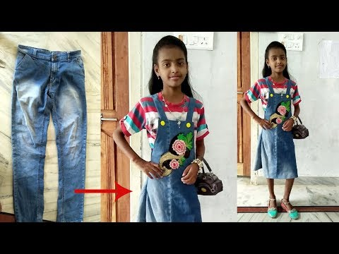 DIY: Convert/Reuse old Men's Jeans into girls DUNGAREE DRESS/ DUNGAREE SKIRT By Sri Tv