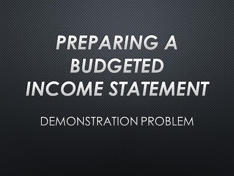 Preparing a Budgeted Income Statement Demonstration Problem