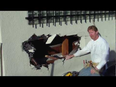 Repair a hole in an exterior stucco Wall. My dads first video