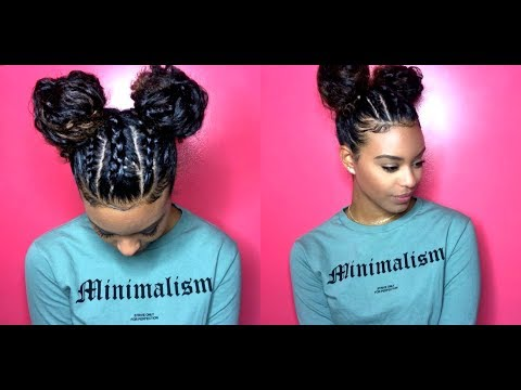 ChellisCurls | Space Buns with Braids