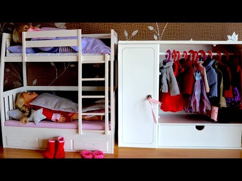 Baby Doll Bunk Bed & Wardrobe , Dolls Bedroom Closet Dress up Baby Born Bedtime & Morning Time