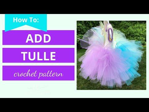 Add Tulle to Crochet Bodice Top | How to Make a Tutu | Crochet Tutu Dress Tutorial