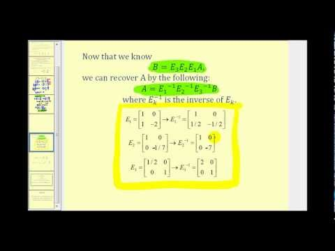 Use Elementary Matrices to Perform Row Operations to Solve a System