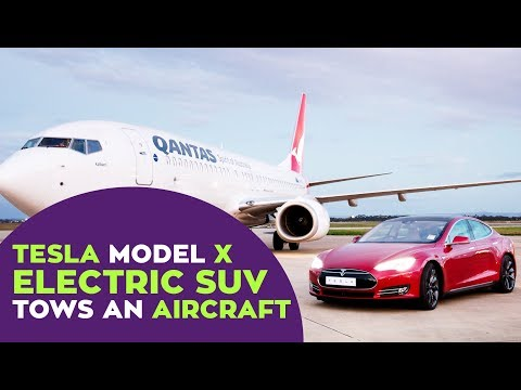 Indiatimes - Watch Tesla Model X Electric SUV Tow A 130181 kg Aircraft