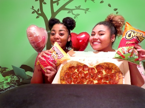 Junk Food! Pepperoni Pizza, Hot Cheetos, and Brownies | V-Day Games