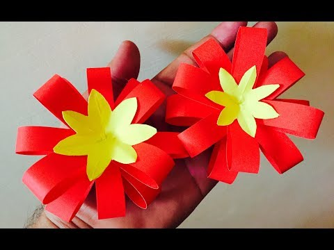 How to make paper flower bow | Easy paper crafts for home decoration - artsNcraft
