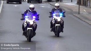 Police Motorcycles Responding Urgently in Paris