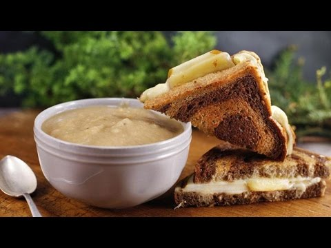Potato-Parsnip Soup with Grilled Cheese and Pears