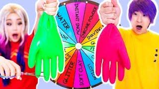 Mystery Wheel Of Slime GIANT GLOVES Challenge! GF vs BF