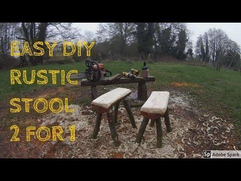 Make A Log Stool With No Nails - Wood Craft - Easy Rustic DIY