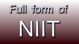 Full form of NIIT | Music Jinni