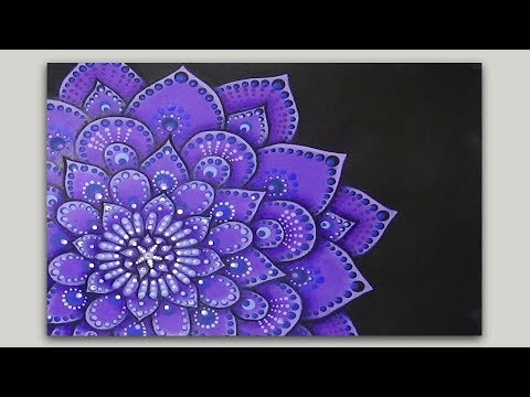 Flower Mandala Painting in Acrylics - Adding Dots and Detail - part 2 of 2