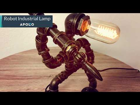 Rustic Robot Industrial Pipe Lamp: Steampunk Style