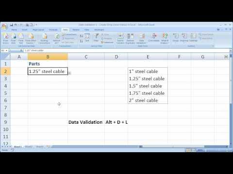 Data Validation 1 - Create Drop Down Menus in Excel