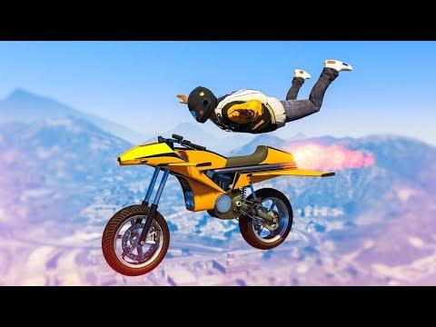 AMAZING ROCKET BIKE SKYDIVE STUNT! - (GTA 5 Stunts & Fails)