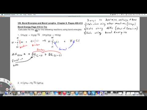 Enthalpy of Reaction using Bond Energies