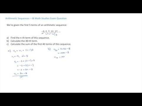 IB Math Studies Arithmetic Sequences Exam Question 4