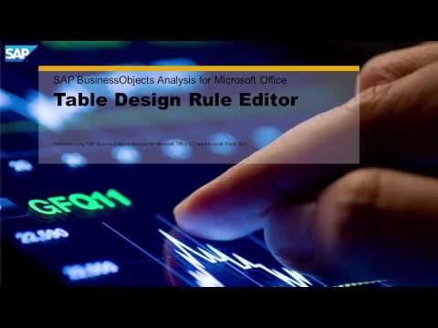 SAP BusinessObjects Analysis for Microsoft Office 2.3: Design RulesTab