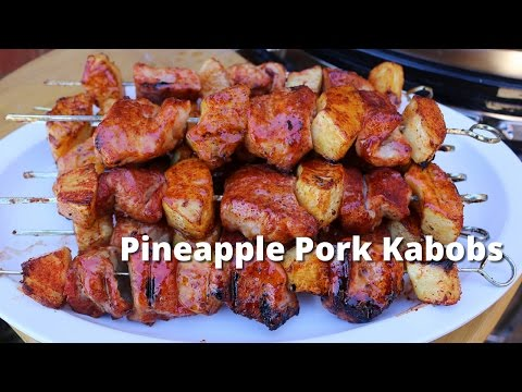 Pineapple Pork Kabobs | Grilled Pork Kebab Recipe on Kong Ceramic Grill