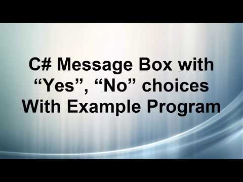 C# Message box with Yes No button C#