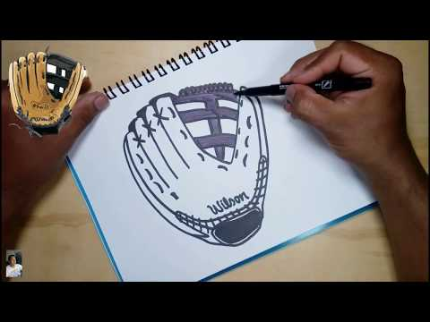 How to draw a baseball glove easily