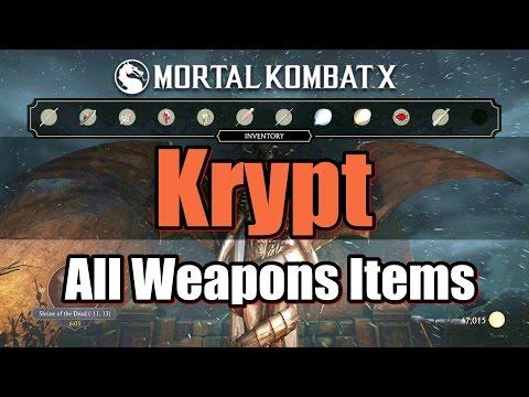 Mortal Kombat X Krypt All Weapons Items In Krypt