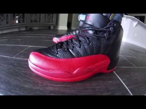 the best attitude bcdc9 5a3ae Air Jordan 12 Retro Flu Game Black Red Review with On Feet