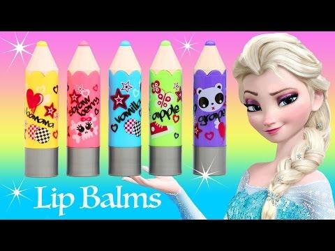 LIP BALM SCENTED PENCILS Colors Lip Gloss Strawberry Banana Grape Vanilla Apple Frozen Elsa Shopkins