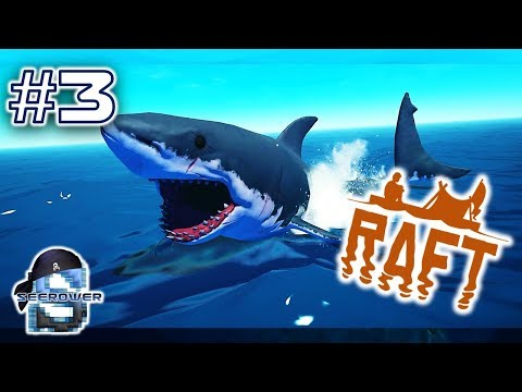 HOT SHARK MEAT NET BUILDING ACTION!!! - RAFT BUILDING AND SHARK SPEARING SURVIVAL ACTION - RAFT #3