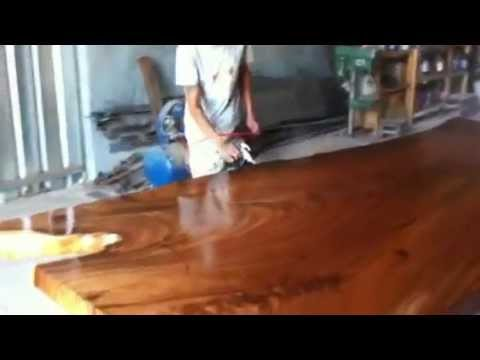 DIning Table Thai Acacia Reclaimed Wood Solid Slab Natural Free Form Live Edges