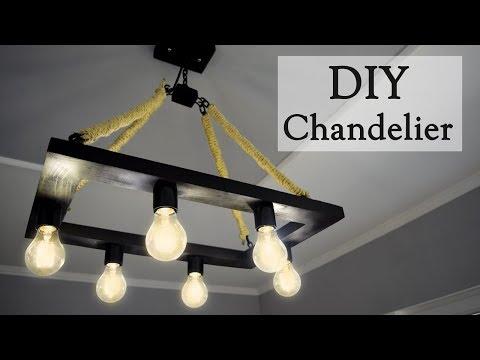 DIY Industrial Style Hemp Rope Chandelier for 35$